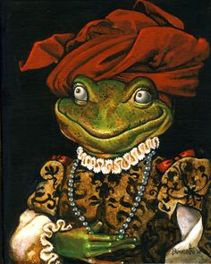 FROG WITH TURBAN by Bob Doucette Frog Pictures, Funny Frogs, Frog Art, Frog And Toad, Tier Fotos, Amphibians, Pet Portraits, Cute Art, Fairy Tales