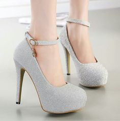 Black and Silver Prom Heels_Prom Dresses_dressesss Silver Sparkly Heels, Sparkly Wedding Shoes, Silver Shoes, Bridal Shoes, Fancy Shoes, Pretty Shoes, Ankle Strap Heels, Shoes Heels, Ankle Straps