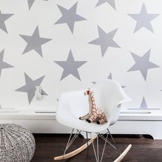 Silver Metallic Star Wallpaper - we love this bold look in the nursery! #PNshop