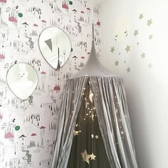N74 Canopy and Falling star garland | silver grey and gold | Photo taken by @willieandmillie on Instagram