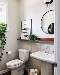 Introducing Gorgeous Small Bathroom Decor Ideas cool From time to time, all you have to make them feel welcome is some little suggestions for your guest bathroom. It is possible to also test out your dec. Small Bathroom Sinks, Bathroom Renos, Master Bathroom, Pedastal Sink Bathroom, Pedestal Sink Storage, Small Sink, Bathroom Mirror With Shelf, Bathroom Plants, Remodel Bathroom