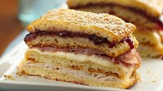Ham, turkey and muenster cheese are layered with flaky crescent dough in this honey-glazed sandwich loaf.  It's delicious!