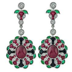Stunning Ruby Diamond Onyx Emerald Gold Earrrings | 1stdibs.com