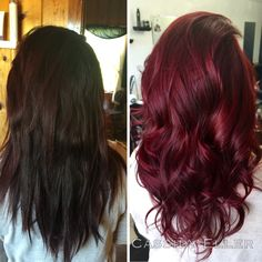 Before and after, brunette to red, Paul Mitchell the color & joico intensities