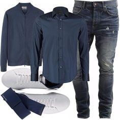 Sobrietà, ma senza strafare e senza rinunciare al comfort. Ad un comodo jeans blu scuro abbiniamo una camicia e un cardigan con la zip in tinta. Sneakers bianche a contrasto, ci armiamo di sorriso e andiamo a conoscere i suoceri!