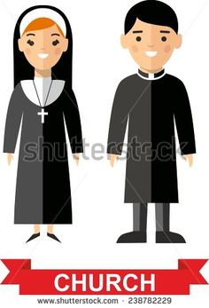 Set of a religious people, priest and nun. Vector illustration of a religious people, priest and nun