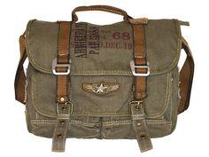 Military Vintage Canvas Over The Shoulder Messenger Bag