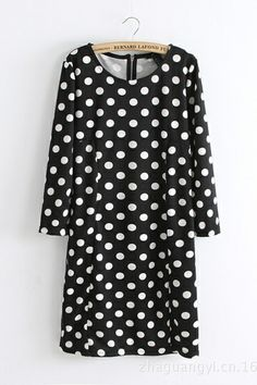 Black and White Polka Dots! Black and White Polka Dot Dress #polka_dots #black_and_white #fashion