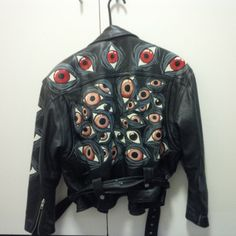 """etsygold:  """" Hand painted argus eyes leather jacket  (more information, more etsy gold)  """""""