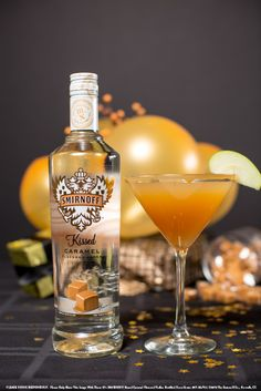 Kissed Caramel and Apple Juice with 1.5 oz SMIRNOFF® Kissed Caramel® Flavored Vodka and 2 oz apple juice. Garnish: green apple slices. In an ice filled shaker, combine all the ingredients. Shake well. Strain into chilled martini glass. Garnish with green apple slices.