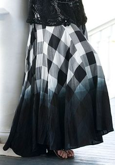 Plus Size Plaid Ombre Maxi Skirt , like i need another skirt but loving it
