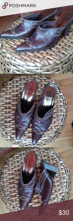 """Sam & Libby mules Rich brown Sam & Libby mules.  Pointed cowboy boot style toe.  3.5"""" heel, size 10.  Gently used. Sam & Libby Shoes Mules & Clogs"""