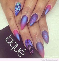 Wonderful galaxy stiletto nails