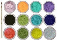 12 Jars Mixed Style Nail Art Decor - Velvet, Glitter Powder and Micro Beads with Bonus Wax Picker and Rhinestones by La Demoiselle. $12.99. Each Glitter Jar Weight is 5g, Mini beads - 8g, 3/4 full, Velvet - 5g. Colors as pictured.. Bonus: 1x Wax Pencil Picker and blue & black rhinestones sample. Ships from USA within 24 hours.. Bead Size: 0.8mm. Great for fine detailing and those amazing caviar nails!. Includes: 4 x Velvet Powder, 4 x Glitter Powder and 4 x Micro Beads...