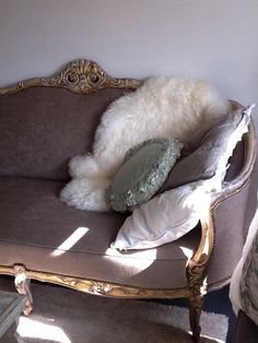 Cozy reading and napping spot on soft textured pillows on a French sofa