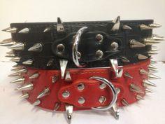 DESIGNER LEATHER SPIKED DOG COLLAR PITBULL STAFFY MASTIFF PINK BLACK BROWN RED