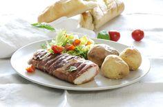 Oppskrift på torsk i spekeskinke fra matbloggen Fru Timian #fisk #middag