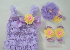 Lilac lace Romper SET,lilac pink girls Romper,Yellow lace baby Romper,Photo prop Baby Clothing,Girls lilac pink Headband,Yellow baby Sandals