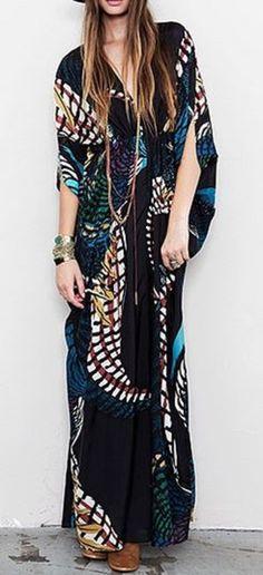 Love Love LOVE this Dress! Gorgeous Colors! #Gorgeous #Black #Velvet #Bohemian #Maxi #Dress #Fashion