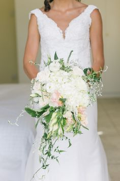 Cascade white and green lush wedding bouquet. Emerald & Blush Wedding by Jenni Elizabeth | SouthBound Bride