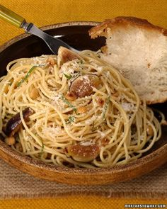 Spaghetti with Figs, Basil, Brown Butter, and Hazelnuts Recipe