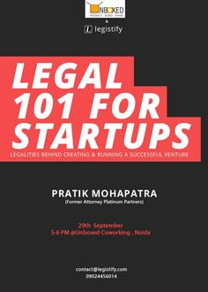 Legal 101 for Startups @ UnBoxed http://unboxedcoworking.com/events-1/legaltalk