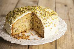 Riverford's rhubarb, orange & pistachio cake. http://www.riverford.co.uk/recipes/view/recipe/rhubarb-orange-pistachio-cardamom-cake