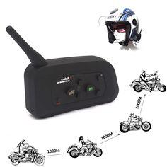 1200M V4 BT Interphone Motorcycle Bluetooth Headset Helmet Intercom 4 Riders FM Wireless Headphones