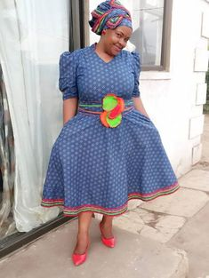 13 + Shweshwe + Dresses For All Women 2019 ⋆ Xhosa Attire, African Attire, African Wear, Setswana Traditional Dresses, South African Traditional Dresses, Traditional Wedding, African Dresses For Women, African Fashion Dresses, African Women