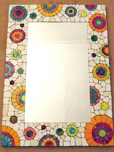 Mosaic boarder or full panel Mosaic Artwork, Mirror Mosaic, Mosaic Wall, Mosaic Glass, Mosaic Tiles, Glass Art, Mosaic Crafts, Mosaic Projects, Mosaic Designs