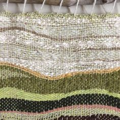 Wren House Yarns: 'Sleeping Spring' hand woven wall hanging from reclaimed and hand spun yarns