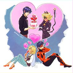 Happy Valentine's Day, everyone! PS: my genderbend versions are called Matthias and Adri, and I've reversed the love square upside down (I like to think. Miraculous Ladybug Wallpaper, Miraculous Ladybug Fan Art, Meraculous Ladybug, Ladybug Comics, Lady Bug, Ladybug Und Cat Noir, Catty Noir, Marinette And Adrien, Bugaboo