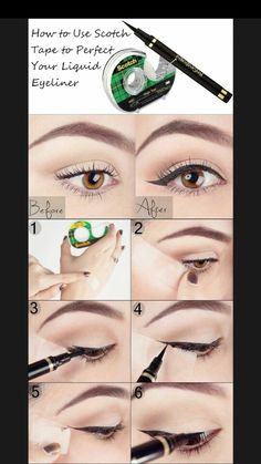 Super makeup eyeliner tutorial liquid liner eyebrows ideas Super Make-up Eyeliner Tutorial Liq Eyeliner Hacks, Eyeliner Styles, How To Apply Eyeliner, Makeup Hacks, Makeup Tips, Beauty Makeup, Hair Makeup, Makeup Ideas, Eyeliner Brands