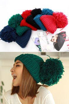 cute korean big pom pom hat
