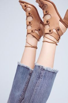 Slide View: 4: Current/Elliott High-Rise Cropped Flip-Flop Fray Jeans