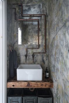 Industrial and Moody Modern Gothic London Home can find London and more on our website.Industrial and Moody Modern Gothic London Home Industrial Bathroom Design, Industrial Interior Design, Vintage Industrial Decor, Industrial Interiors, Modern Industrial, Modern Bathroom, Small Bathroom, Ikea Bathroom, Industrial Office