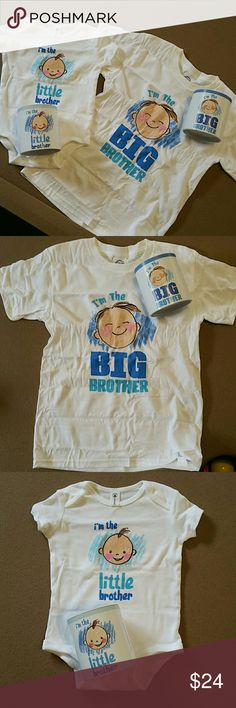 JUST IN! Set of 2. BROTHER TEES. Adorable!!! Onsie is for the new little brother 0-6months. Bigger shirt is childs size Small 6/8. Great gift to bring to hospital or new arrival!! New in round gift boxes. Never worn. Opened for picture. 100% pre shrunk cotton. Boutique Matching Sets