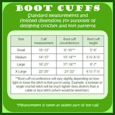 crochet boot cuff size chart - Google Search