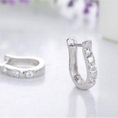 925 Sterling Silver Nice White Crystal Silver Brincos Ouro Women's Hoop Earrings For Women Earring Jewelry Gift Horseshoe Earrings, Gold Hoop Earrings, Women's Earrings, Jewelry Case, Jewelry Gifts, Ear Studs, Gemstones, Sterling Silver, Harp