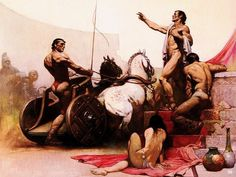 Racing in Ancient Rome. Frank Frazetta. American. 1928-2010. http://hadrian6.tumblr.com