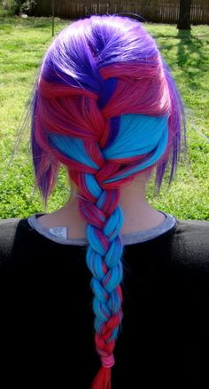 Purple, Red, and Sky Blue French Braid