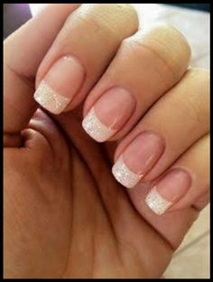 Sparkly white french tips
