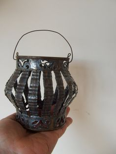 Vintage Tin Can Candleholder Lantern by lookonmytreasures on Etsy, $22.90