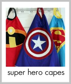 """Super Hero Cape & Logo Patterns (even though I take umbrage with the Incredibles one... """"NO CAPES!"""")"""