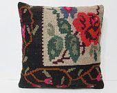 24x24 knitting kilim pillow floral throw pillow flower decorative pillow floral pillow cover flower pillow case rose pillow unique rug 24439