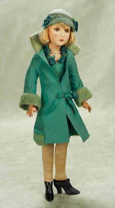 Rare Cloth Flapper Doll with Original Felt Costume by Dean's Rag. ~Via Patricia Sprague Dollhouse Dolls, Miniature Dolls, Antique Dolls, Vintage Dolls, Silk Stockings, Felt Dolls, Rag Dolls, Fabric Dolls, Beautiful Outfits