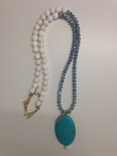 Necklace Women Girl Jewelry Beads Crystal Sparkle Pumice Haolitis Grey White Turquoise String Gold Color Metal Long by ArtArgo on Etsy