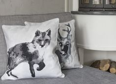 Gorgeous Finnish animal figures decorate Fauna Fox cushion covers designed by Lasse Kovanen. Made of 100 % cotton, this cushion cover is cm in size and pairs best with a cm Pentik inner cushion. Winter Cabin, Cozy Living, Breeze, Living Room Decor, Pillow Covers, Fox, Villa, Mountain, Cushions