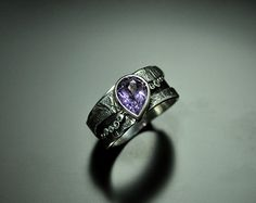 Silver Ring Natural Amethyst OOAK by GatoJewel on Etsy, $140.00