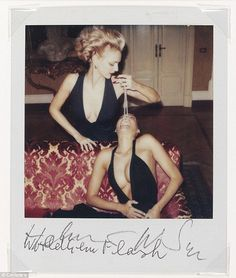 Helmut Newton's Fashion studies, Milan, 1997: Three unique SX70 Polaroids each signed in pencil and annotated 'World Gem Flash'